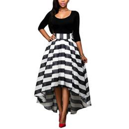 Wholesale Zebra Ball Dresses - Women's Black Slim T-shirt + Hight Striped Skirt Sets Half Body A-line Skirts Hollow Dress irregular Skirt Zebra Dresses Women Street Wear