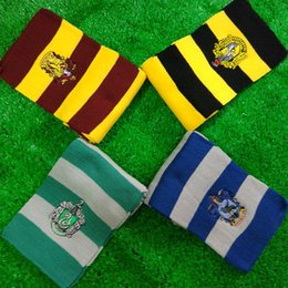 Wholesale Hufflepuff Scarf - Harry School Gryffindor Ravenclaw Hufflepuff Slytherin Badge Scarves for Women Men Potter Fans Fashion Gift Drop shipping