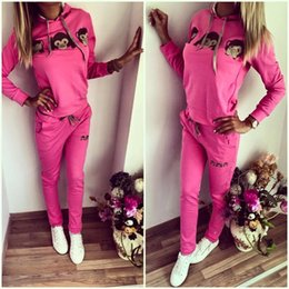 Wholesale Monkey Pockets - 2016 New Arrival Womens Casual Monkey Face Top Sweatshirt Pant Sport Suit Sweat Tracksuit Hoodies 4 color