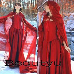 Wholesale Medieval Renaissance Gowns - Renaissance Vintage Red Gothic Wedding Dresses With Cloak Plus Size A Line Long Sleeve Satin Chiffon Bridal Gowns Medieval Vestido De Novia