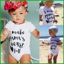 Wholesale Christmas Tutu Toddler - Toddler baby rompers one-pieces white letter casual boys girls bodysuits infant children outfits summer beach lovely style free shipping