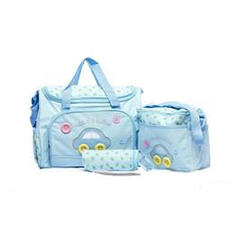 Wholesale Diaper Bag Pieces - 2017 Car Pattern shoulder diaper bag 4 pieces   set handbag baby changing bags Mommy Handbags Nappies Bags