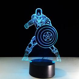 Captain America 3D Optical Lamp Night Light Batteria notturna DC 5V Colorful 3D Lamp da