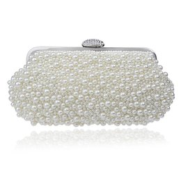 Wholesale Clutches For Wedding - Women messenger beaded women vintage evening bags imitation pearl shell women bag shoulder bags,diamonds clutch bag for wedding