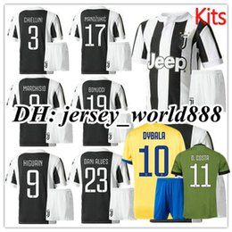 Wholesale Quality Children - best quality 17 18 kids DYBALA HIGUAIN home soccer Jersey Kits 2017 2018 MARCHISIO MANDZUKIC PJANIC CUADRADO Away child Football Shirt