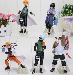 Wholesale Naruto Sasuke Figures - 5pcs Set Naruto Anime Action Figures Toy Kakashi Gaara Uchiha Sasuke PVC Dolls Collection Toys Children's gift set approx 5inch
