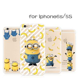 Wholesale Minion Silicone Phone Cases - Cute Cartoon Minions Despicable Me Coque Transparent TPU Cover Clear Ultra Thin Soft Phone Case For iPhone 5 5S SE 6 6S Plus