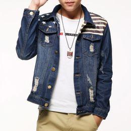 Wholesale Mens Coats Xl Usa - Denim Jacket men USA Design fashion Jeans Jackets Slim fit American Style Vintage Mens Jacket and Coat outdoors Jeans clothing