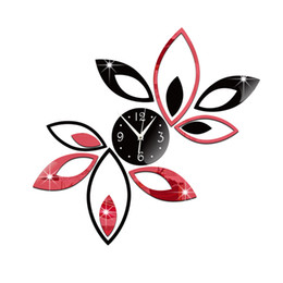 Wholesale Lotus Decals Stickers - DIY lotus Wall Clock 3D Wall Mirror Sticker Clock Watch Mirror Stickers Home Decor Decals Wall Clock Fashion Design
