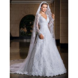 Wholesale Model Castles - 2018 New Arrival Sexy V-Neck Long sleeve Wedding Dresses A-Line Custom-Made Bridal Gown Plus Size Vestido De Noiva