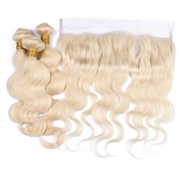 Wholesale Cheap Virgin Russian Hair - Russian Blonde Hair Weaves With Frontals Body Wave 9A Cheap Russian Virgin #613 Blonde Human Hair 3Bundles With 13x4 Lace Frontal 4Pcs Lot