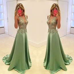Wholesale Black Lace Exquisite Evening Dress - Exquisite Lace Appliques Long Evening Dresses 2016 V Neck Sleeveless A Line Floor Length Formal Party Plus Size Weddings Guest Dress New
