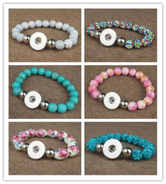 Wholesale silver turquoise stone chain bracelet - 7 styles choose 18MM Turquoise Natural stone Shambala Snaps elastic Beads Bracelet Snap Button Bracelet DIY Snap Jewelry