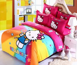 Wholesale Yellow Bedspreads Queen - Home textile! New style Reactive Printing bedding duvet cover Bedding sheet bedspread pillowcase set, 3D Hello Kitty Bedding Set