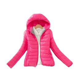 Wholesale Long Puffer Coats Women - Wholesale- New Women's Puffer Jackets Lightweight Hooded Cotton Short Coats Hooded Collar Long Sleeve Warm