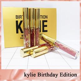 Caja de edición kylie online-Hot Kylie Cosmetics Mate Lápiz Labial Líquido Mini Kit Lip Edición de Cumpleaños Limitada Con Golden Box 6 unids set Lip Gloss DHL libre