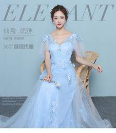 Wholesale Sissi Costume - light blue flower butterfly sleeve Medieval dress Renaissance gown Sissi royal princess dress Victoria dress Belle Ball