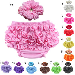 Wholesale Toddler Underwear Sets - 12 Colors Baby infant ruffle pp pants+flowers Headband 2pcs set toddler underwear kids clothes briefs summer PP Pants sets