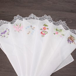 Wholesale Ladies Handkerchiefs Embroidered - Vintage Cotton Women Napkin Embroidered Butterfly Lace Flower Hankies Floral Assorted Cloth Portable Ladies Handkerchief