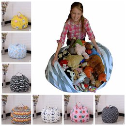 Wholesale Bean Bag Room - 18inch Kids Storage Bean Bags Plush Toys Beanbag Chair Bedroom Stuffed Room Mats Portable Clothes Storage Bag KKA3551