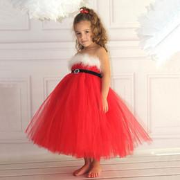 Wholesale Kids Veil Costume - New Baby Girls Cosplay Dress strapless veil Merry Christmas Kids Cotton Red Casual Tutu Dress DK1036CR