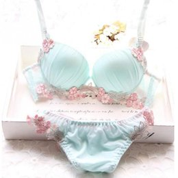 Wholesale Push Up Bra Cute - Wholesale-Fashion Cute Fresh Style Underwire Padded Deep-V Women Underwear Suit Adjustable Thicken Style 3 4 Cup Pure Color