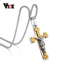 Wholesale Jesus Metal Pendant - Vnox Men's Jesus Cross Necklace Pendant 316l Stainless Steel Metal With Chain 24inch