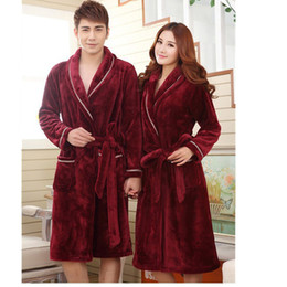 Wholesale Thick Winter Shirts For Men - Wholesale-Bathrobe Men 2016 New Bathrobes for Men Women Couple Bath Robe High Quality Winter Thick Flannel Pajamas Bathrobe 4Colors