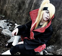 Wholesale Akatsuki Clothes - 2017 Halloween Cosplay Naruto Akatsuki Orochimaru Uchiha Madara Sasuke Itachi Pein Clothes Costume Cloak Cape Wind Dust Coat Wholesale