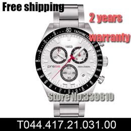 Mans regarder le japon mouvement en Ligne-Nouvelle montre en acier inoxydable mouvement à quartz Japon Chronographe pour homme T044.417.21.031 T044 Gents montre-bracelet PRS516 + boîte d'origine livraison gratuite