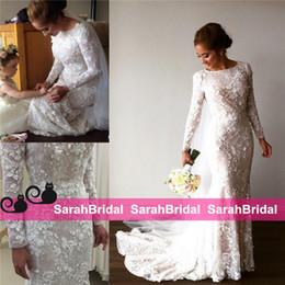 2019 vestidos de noiva de designer árabe 3D-floral apliques de luxo designer sereia bainha vestidos de casamento com mangas compridas pura gola frisada floral muçulmano árabe vestido de noiva desconto vestidos de noiva de designer árabe
