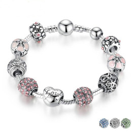 Wholesale Channel Ball - Antique Silver Charm Bracelet & Bangle with Love and Flower Crystal Ball Women Wedding Valentine's Day Gift