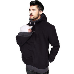 Wholesale Full Size Clothing - Dad Autumn Winter Clothes Baby Carrier Kangaroo Cotton Outerwear Hoodies Men Coat Hoodie Wearing Coat Plus Size Jacket