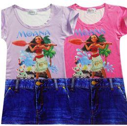 Wholesale Demin Shorts Kids - Cartoon Moana Girls Dress Fashion Baby Kids Girl's Short Dresses For Copy Demin Fabric Print Girl's Clothing Summer