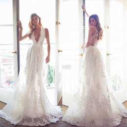 Wholesale Real Simple Weddings - Bohemian Lace Wedding Dresses Deep V Neck Sleeveless A Line Wedding Gowns Vintage Long Beach Lurelly Newest Plus Size Bridal Dresses 2017
