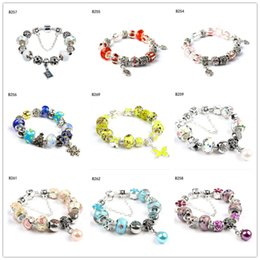 Wholesale Crystal Butterfly Charms - Snowflake butterfly Tibetan silver glass beads Charm Bracelet,fashion women's DIY European Beads bracelet 6 pieces a lot mixed style GTPDB28