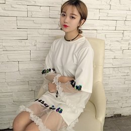 Wholesale Black Sequin Skirt Small - Summer Korean students small fresh in the long paragraph short sleeve t-shirt lace dress stitching yarn temperament skirt