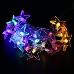 Wholesale Led Star Shaped Strings Lights - Wholesale- 2.3M 20 LED String Lights Twinkle Star Shaped Fairy Lights for Wedding Festival Birthday Party Decoration Lamp LED Bulbs #LO