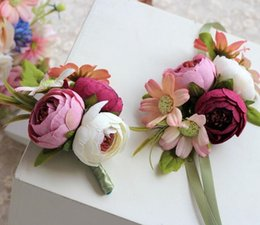 Wholesale Cheap Bouquets For Weddings - Wedding Corsage Hand flower Corsages In Stock Cheap Wedding Bouquets Wrist Flowers For Bridesmaid Girls Wholesale