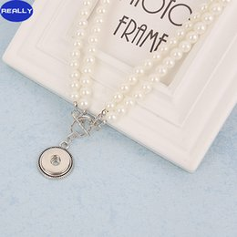 Wholesale Pearl Snaps - REALLY Wholesale NOOSA Snap White Imitation Pearl Jewelry With 18MM Tin Alloy Button Pendant Necklace Free Shipping