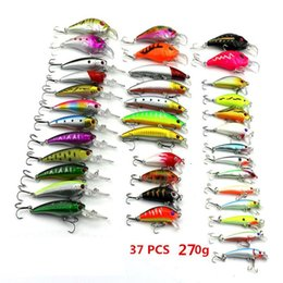 Wholesale Rattle Fishing Lure - 37PCS ABS Plastic Fishing Lure set Artificial Fish Laser crank bait Freshwater Fishing Bill Rattles Crankbaits Fishing Tackle