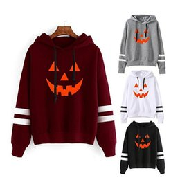 Wholesale Hoodies Letter S Design - Halloween Hoodies for Women Autumn Fall New Hooded Casual Pullovers Pumpkin Printed Design Sweatshirts Tees