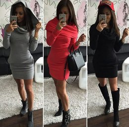 Wholesale Sweater Red Women Sexy - 2016 Fall And Winter Selling Explosion Models Tri-Color Dress Package Hip Long-Sleeved Hooded Sweater To Keep Warm Free Post Wholesale