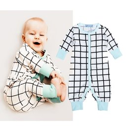 Wholesale Top Brand Boys Clothes Sale - 2016 Hot sale Newborn bodysuit Baby Boys girls unisex rompers Clothes Soft Cotton Check casual kids Jumpsuit plaid top Outfits free shipping