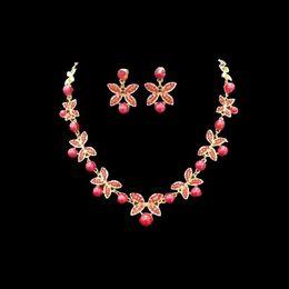 Wholesale Silver Rhinestone Cuff Bracelet - 2016 Cheap red Rhinestone Bridal Jewelry Set Bling Beaded Wedding Party Earring Bracelet Necklace Jewel Set Birdal Accessories