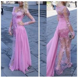 Wholesale Long Dress Lace Overlay - 2016 Sexy Long Sleeves Sheath Evening Dresses See Through Long Sleeve Ruched Chiffon Formal Prom Party Gowns Chiffon Overlay Robe De Soiree