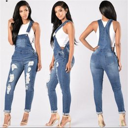 Wholesale Women Denim Long Overalls - Hodisytian Autumn New Fashion Sexy Women Jumpsuits Hole Style Long Jeans Bodysuit Casual Skinny Denim Romper Overalls Mono Femme