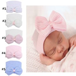 Wholesale Crochet Beanies Babies - 5colors Newborn baby beanie with big bow girl and boy Baby Cotton crochet Hat Boys Hospital Cap Toddler Soft Knit Hat Accessories XM008
