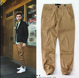 Wholesale Publish Pants - Wholesale-Men's urban clothing M-2XL unisex khaki dress pants skinny jogger high quality fashion publish blue   green   hiphop corridors