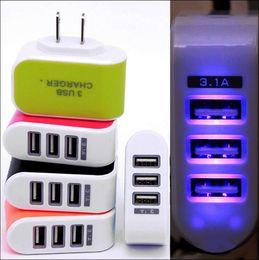 США ЕС Plug 3 USB настенные зарядные устройства 5V 3.1 A LED адаптер путешествия удобный адаптер питания с тройной USB-порты для мобильного телефона MQ100 от